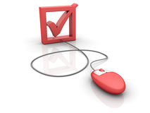 Check Box. Three dimensional illustration of red mouse attached to check box on white background Royalty Free Stock Image