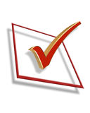 Check Box 3D Graphic. 3D Illustration of check in box for Election Day 2008 Vote or clip art Royalty Free Stock Images