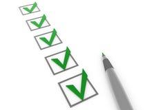 Check box 5 green gray pen Stock Photography