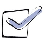 Check box. Illustration of a checkbox with a blue checkmark Royalty Free Stock Images
