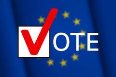 Time to vote. Flag of the European Union on background Stock Photos