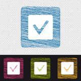Check Box Button - Check Mark Sign - Colorful Scribble Vector Icons - Isolated On Transparent Background Stock Photo