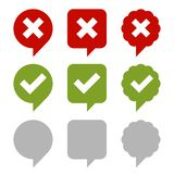 Check Box Icons Set. Green and Red Signs on White Background. Vector royalty free illustration