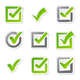 Check box icons of vote mark sign choice yes symbol and correct design right agreement voting form button question Stock Photography