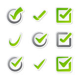 Check box icons of vote mark sign choice yes symbol and correct design right agreement voting form button question Stock Images