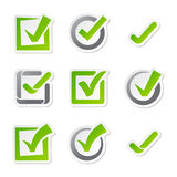 Check box icons of vote mark sign choice yes symbol and correct design right agreement voting form button question Stock Photo