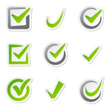 Check box icons of vote mark sign choice yes symbol and correct design right agreement voting form button question Stock Image