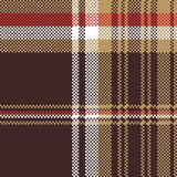 Check brown tartan seamless fabric texture. Vector illustration Stock Image