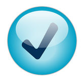 Check Button. The Glassy Blue Check Icon Button royalty free illustration