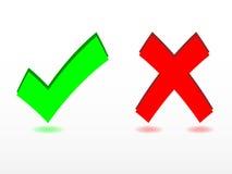 Check and cancel symbols. Set of check and cancel symbols stock illustration