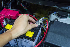 Check car battery. On car engine Stock Photo