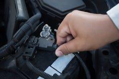 Check the car battery polarity. And maintenance Stock Photos