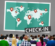 Check In Cartography Location Spot Travel World Global Concept Stock Photo