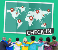 Check In Cartography Location Spot Travel World Global Concept.  Royalty Free Stock Photos