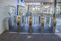 Check In Check Out At Hoofddorp Train Station The Netherlands.  Stock Photos