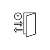 Check-in, Check-out line icon, outline vector sign, linear pictogram isolated on white. Stock Photography