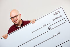 Check: Cheerful Man with Large Check Stock Photos