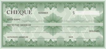 Check, Cheque Chequebook template. Guilloche pattern vector illustration