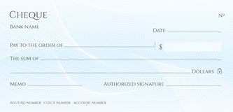 Check, Cheque Chequebook template. Guilloche pattern with abstract line watermark stock illustration
