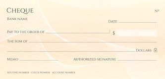 Check, Cheque Chequebook template. Guilloche pattern with abstract line watermark vector illustration