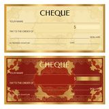 Check cheque, Chequebook template. Guilloche pattern with watermark, spirograph Royalty Free Stock Photo