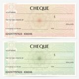 Check cheque, Chequebook template. Guilloche pattern with watermark, spirograph stock images