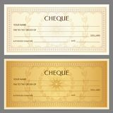 Check cheque, Chequebook template. Guilloche pattern with watermark, spirograph Royalty Free Stock Image