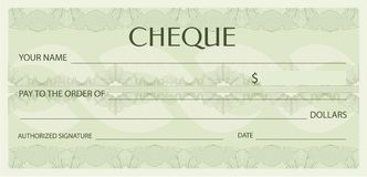 Check cheque, Chequebook template. Guilloche pattern with watermark, spirograph Stock Photo