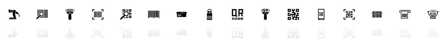 Check Code - Flat Vector Icons. Check Code icons - Black horizontal Illustration symbol on White Background with a mirror Shadow reflection. Flat Vector Icon Stock Images