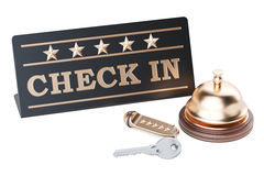 Check in concept, hotel key and reception bell, 3D rendering. On white background Royalty Free Stock Images
