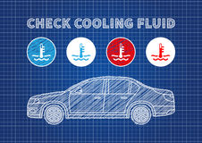 Check cooling fluid indicators vector illustration. Car coolant signs blue print graphic design. Coolant car engine creative concept Stock Images