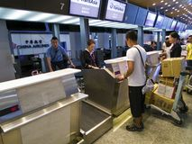 Check in Counter inside Taipei Songshan Airport. Taipei, Taiwan - JUNE 27, 2015: Check in Counter in Taipei Songshan Airport on June 27,2015 in Taipei,Taiwan Stock Images