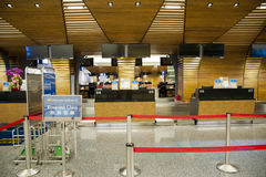Check in counter waiting line in airport Stock Photo