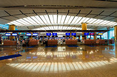 Check in counters at Changi International Airport which is located in Singapore. Royalty Free Stock Photography