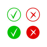 Check and cross mark icons. Vector symbol of yes and no. Isolated sign approved, choice checkmark Royalty Free Stock Photo