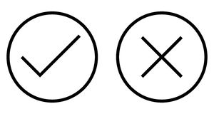 Check and Cross Mark Thin Line Vector Icon Royalty Free Stock Image