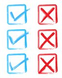Check and Cross Mark. Vector red color Check and Cross Mark icon set Royalty Free Stock Photography