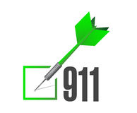 911 check dart sign concept illustration. Design over white Royalty Free Stock Image