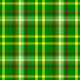 Check diamond tartan plaid fabric seamless pattern background - vibrant green, yellow, red and white color Royalty Free Stock Photos