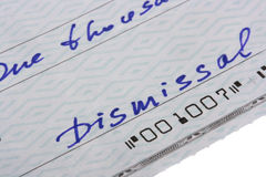 Check dismissal Royalty Free Stock Images
