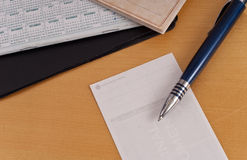 Check Endorsement. With Pen And Calender Royalty Free Stock Image