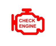 Check engine car symbol. Malfunction or check engine car symbol, dash board close up Stock Photo