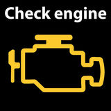 Check engine icon. Warning dashboard signs. Vector illustration. Emissions warning light show on a black background stock photography