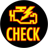 Check engine light in circle. Icon that pops up on dash when something is wrong with the engine Stock Photography