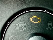 Check engine light. A dashboard with lit check engine light icon royalty free stock photo