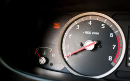 Check engine light on. Dashboard warning light Royalty Free Stock Photography