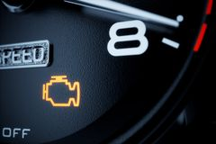 Check engine light illuminated. On dashboard. 3d rendering illustration royalty free illustration