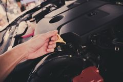 Check Engine Oil Royalty Free Stock Image