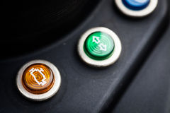 Check engine symbol. On a motorcycle dashboard Stock Photo