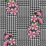 Check Fashion Seamless Pattern with Embroidery Cherry. Check fashion tweed black houndstooth seamless pattern with embroidery cherry blossom on white background stock illustration
